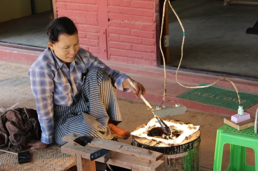 The ancient Burmese art of creating black laquer, a liquid resin created by thinning tree sap with heat to create a resin applied in many layers to art and craft pieces such as ornaments and bowls.